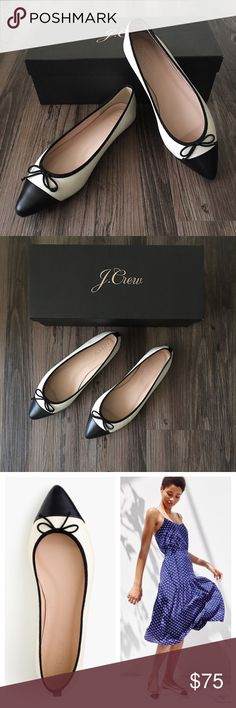 J. Crew flats Brand new in box! These black and cream flats are classically elegant and will dress up any outfit. They run slightly large (you can read the reviews on JCrew.com); I would say these are a best fit for a larger 6 or a 6.5. J. Crew Shoes Flats & Loafers