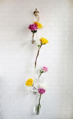 Hanging vase display.