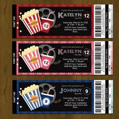 movie night ticket printable birthday invitation card diy