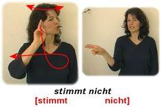 stimmt nicht   Deutsche Gebärdensprache Deaf Language, Sign Language, German, Learning, Snl, Lifehacks, Nerdy, Kindergarten, Meme
