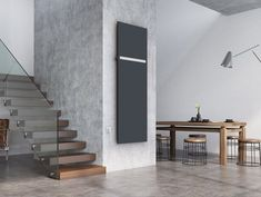 Extra-thin E-Saga electric radiator does not require integration into the central heating system. The radiator only needs an electric socket connection for it to work. Heat transfer is only via a heating foil with not fluid in the radiator. Bathroom Radiators, Electric Radiators, Designer Radiator, Central Heating, Saga, Stairs, Heat Transfer, Connection