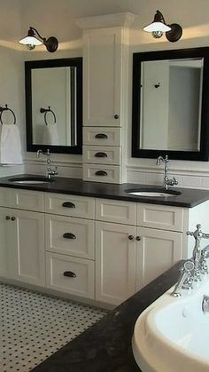 cool cabinet design Jack And Jill Traditional bathroom design, photos, remodeling . - Furnishing the house: design and decoration ideas - cool cabinet design Jack And Jill Traditional bathroom design, photos, remodeling … - Bathroom Vanity Storage, Bathroom Vanity Designs, Bathroom Tower, Bathroom Shelves, Bathroom Layout, Glass Shelves, Bathroom Colors, White Bathroom Cabinets, Basement Bathroom