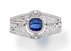 An Art Deco Sapphire and Diamond Brooch, circa 1925