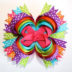 "4"" Happy Birthday Summer Hot Pink Purple Orange Lime Blue Polka Dots Stacked Hair Bow"