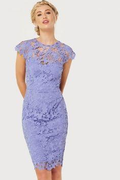 Синий крючком платье