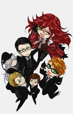 Black Butler - Grell, William, Ronald, Undetaker, Eric, and Alan : Shinigami Dispatch Society Chibi