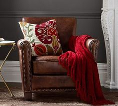 Irving Leather Armchair with Nailheads #potterybarn