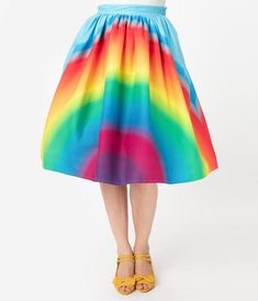 Unique Vintage 1950s Style Rainbow Print High Waist Swing Skirt Rainbow Outfit, Rainbow Fashion, Rainbow Clothes, Crazy Outfits, Cute Outfits, Summer Outfits, Color Wheel Fashion, Rainbow Costumes, Pride Outfit