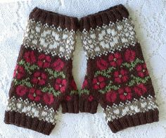 Hungarian Rose Fingerless Mittens by Karen Porter