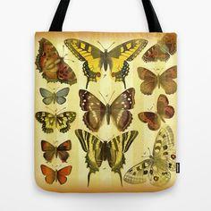 Butterflies on Stripes Tote