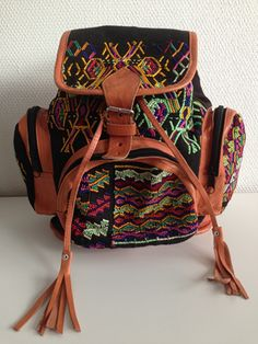 Handmade leather backpack!! With the original handwoven pattern from Guatemala