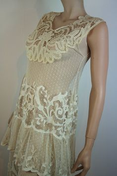 original 1920s tiered lace dress
