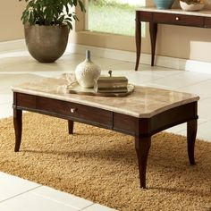 Have to have it. Steve Silver Marseille Rectangle Poplar Wood Marble Top Coffee Table $358.99