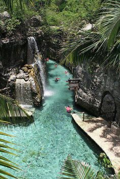 Floating down the river in Xcaret Eco Park. Riviera Maya, Mexico