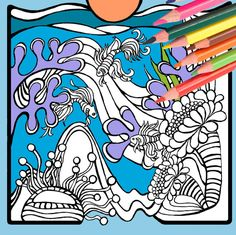 VW Surf Bus Adult Coloring Book Page Digital By