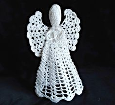 Crocheted Angel Vintage White Crocheted Angel by treasurecoveally on Etsy