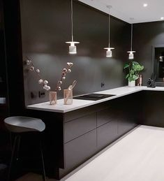 Modern dark home and decor ideas to Match Your Soul, You Must Try In 2020 - Page 16 of 75 - Life Tillage Black Interior Design, Bathroom Interior Design, Luxury Interior, Rustic Bathroom Shelves, Bathroom Shelf Decor, Guest Bathroom Remodel, Küchen Design, Home Decor, Black Kitchens