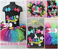Roller Skating Party Decoration Ideas | Rock and Roller Skate - Retro 80s Baby Neon Rainbow Tutu Skirt and ...