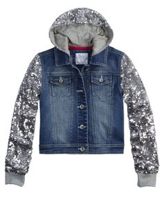 Sequin Sleeve Denim Jacket | Girls Outerwear Clearance | Shop Justice