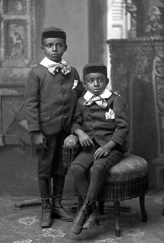 +~+~ Antique Photograph ~+~+  African American Twin Boys