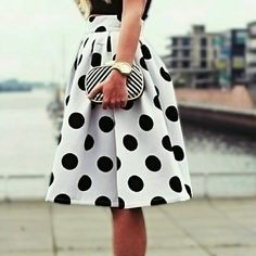 Polka Dot Circle Skirt Elegant polka dot skirt features pleated at waist, side zipper, blank polka dots on white fabric. Cotton blend material. Knee length. Boutique Skirts Midi