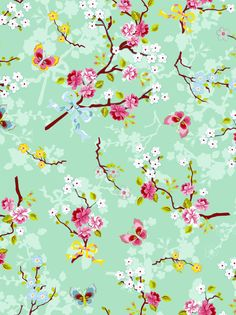 Picture of Chinese Rose wallpaper green