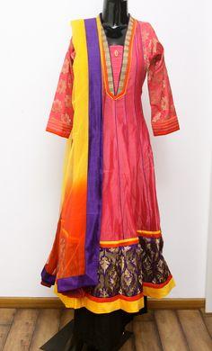 Silk Cotton Anarkali with Banarasi Fabric Sleeves Chiffon Dual Color Dupatta with Rawsilk Border Code 2284 - INR 5650/-
