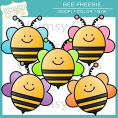 FREE - This fun bee clip art freebie is a high-resolution version of a bee I made several years ago. This bee freebie includes 5 color images and 2 black white images in png format.