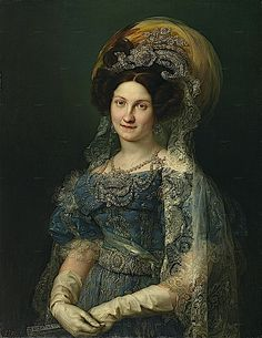 1830 María Cristina by Vicente López y Portaña This is an amazing portrait showing royal dress and details of jewelry and accessories, particularly the lace. Her hair jewelry and bodice ornaments are breathtaking.