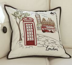 London Embroidered Pillow Cover #potterybarn