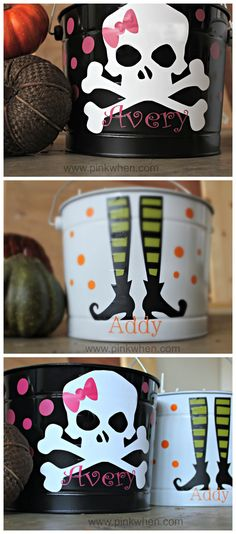 Super easy and fun Trick or Treat Halloween Candy Buckets! Fun for the kids to carry, or make a larger one to serve candy in. Super easy and fun Trick or Treat Halloween Candy Buckets! Fun for the kids to carry, or make a larger one to serve candy in. Dulceros Halloween, Adornos Halloween, Holidays Halloween, Halloween Treats, Halloween Decorations, Diy Halloween Buckets, Holiday Crafts, Holiday Fun, Thanksgiving Holiday