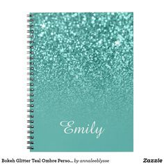 Bokeh Glitter Teal Ombre Personalized Notebook