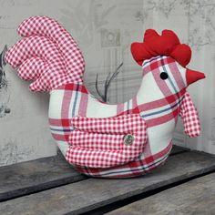 Red Check Chicken Fabric Door Stop