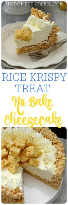 Gluten free This Rice Krispy Treat No Bake Marshmallow Cheesecake is amazing! A total crowd pleaser, it's super easy to make and no-bake! Gooey, fluffy, creamy and smooth with that wonderful marshmallow flavor! Rice Crispy Treats, Krispie Treats, Yummy Treats, Sweet Treats, Yummy Food, No Bake Desserts, Just Desserts, Dessert Recipes, Party Desserts
