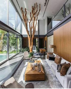 the courtyard house kuliahsehat site 5 Modern House Design, Modern Interior Design, Living Room Designs, Living Spaces, Casas Containers, Courtyard House, Minimalist Decor, House Rooms, My Dream Home