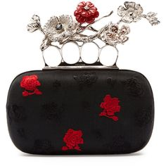 Alexander McQueen Embroidered Floral Box Clutch Bag ($4,440) ❤ liked on Polyvore featuring bags, handbags, clutches, purses, alexander mcqueen, accessories, black, embroidered handbags, floral purse and hand bags