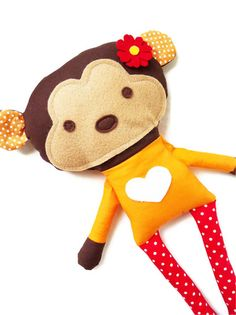 This listing is for a 6 page color PDF monkey doll sewing pattern. The document you will receive includes a detailed step by step tutorial on how