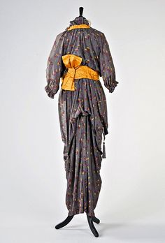 Circa 1912 printed silk gown attributed to French designer Paul Poiret. (2 of 2 photos) - Back view.