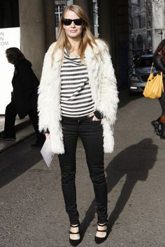 Street Style at London Fashion Week / Photo by Anthea Simms -- love those stripes and those mary janes