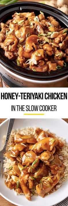 Easy honey teriyaki chicken in the slow cooker. Use your crock pot to make this simple meal. Like your favorite stir fry only with a homemade honey garlic sauce kids and adults both love! Recipes like this are perfect for quick weeknight dinners. It's the best if you make this with thighs, but this also works with breasts. Chicken Teriyaki Recipe Crockpot, Chicken In Slow Cooker, Crockpot Meals, Chicken Breast Recipes Slow Cooker, Slow Cooked Meals, Crockpot Stir Fry, Slow Cooker Recipes Simple, Chinese Slow Cooker Recipes, Chicken Thighs In Crockpot