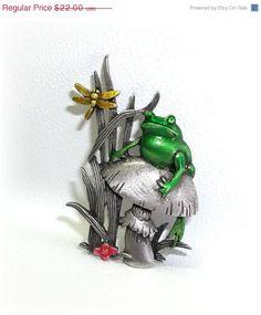 Frog Mushroom Dragonfly JJ pin brooch pewter enamel by dollherup, $19.80 #Jewelry #Frogs #Dragonfly