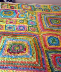 J'adore Floral Granny Square Blanket Crochet by Thesunroomuk, £3.50