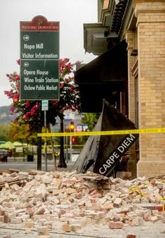 "California winemakers cleaning up after quake. Associated Press. ""NAPA, Calif. (AP) — Winemakers in California's storied Napa Valley woke up to thousands of broken bottles and barrels as a result of Sunday's earthquake...  The epicenter of the 6.0-magnitude earthquake that struck Northern California, the strongest in the area in 25 years, was just six miles southwest of Napa, California, the center of California's winemaking region."""