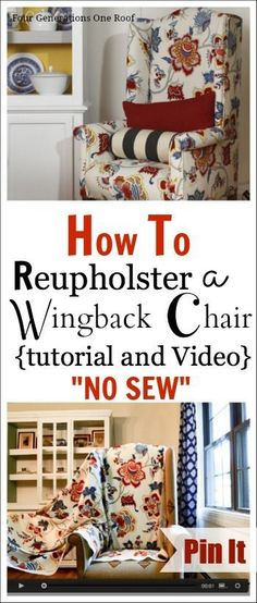Come see how I reupholstered a chair {tutorial + video} NO SEW www.fourgenerationsoneroof.com