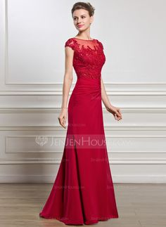 Sheath/Column Scoop Neck Floor-Length Chiffon Tulle Mother of the Bride Dress With Ruffle Beading Appliques Lace Sequins Split Front (008056834)