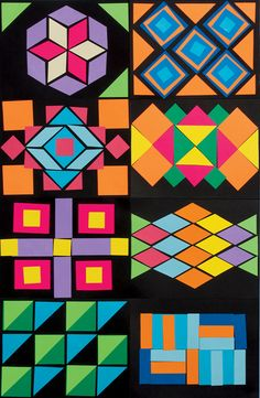 Craft: Geometric Quilts rough draft before we make the class quilt!