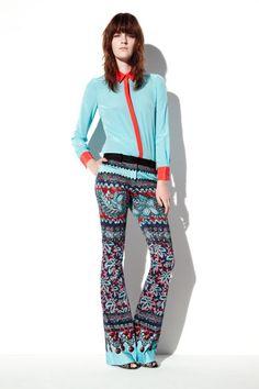 Prabal Gurung Resort 2013 Teal Top and Print Pants - Best Resort 2013 Fashion Looks - Harper's BAZAAR