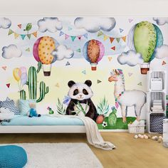 Vlies Poszter tapéta gyerek szobába - hangulatos vidám és gyerekes 0-10 éves korig ajánlott #poszter #tapéta #fotótapéta #lakásdekoráció #homedecor #wallpaper Panda, Malm, Wax Paper, Bunt, Light Colors, Snoopy, Kids Rugs, Watercolor, Pure Products