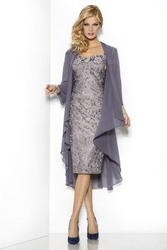 Grey Elegant Sweetheart Mothers Dresses Tea-Length Sheath/Column Cap-Sleeve Lace Mother Of The Bride Groom Dress with Jacket Moms Gown Mother Of The Bride Plus Size, Mother Of The Bride Suits, Mother Of Groom Dresses, Bride Groom Dress, Groom Outfit, Mothers Dresses, Mother Of The Bride Dresses Tea Length, Mother Bride, Mother Of The Bride Dresses Vintage