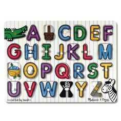 This wooden peg puzzle set supports illustrations for each of the 26 letters of the alphabet. This early learning set helps to develop letter recognition and p Picture Letters, 26 Letters, Magnetic Letters, Wooden Pegs, Wooden Puzzles, Z Craft, Puzzles For Toddlers, Puzzle Books, Classroom Supplies